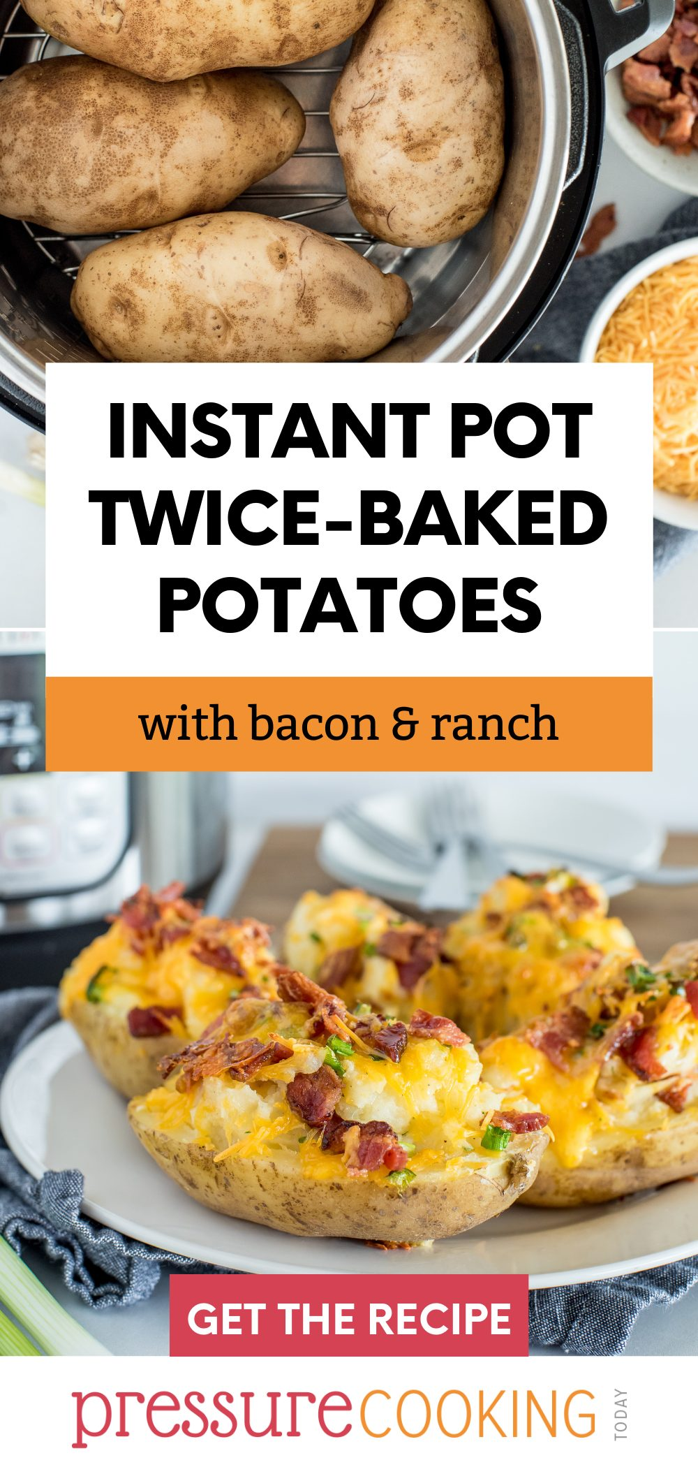 """""""Bake"""" your potatoes in your Instant Pot, then halve and smother them with ranch seasoning, cheese, and bacon, to make the BEST twice-baked potatoes ever. via @PressureCook2da"""