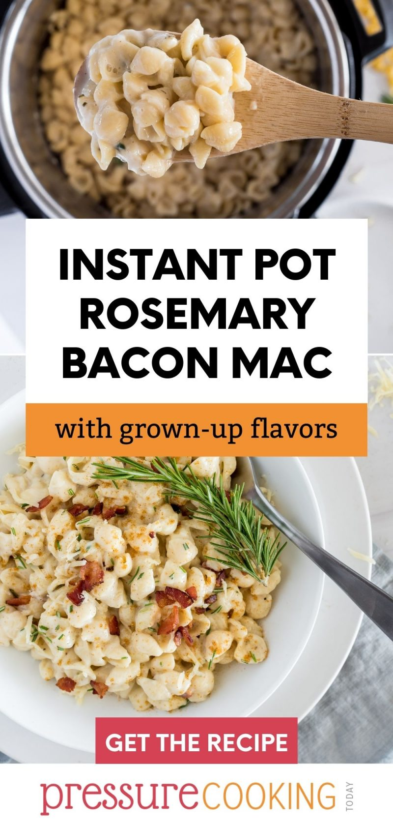 pinterest button for instant pro rosemary bacon mac and cheese