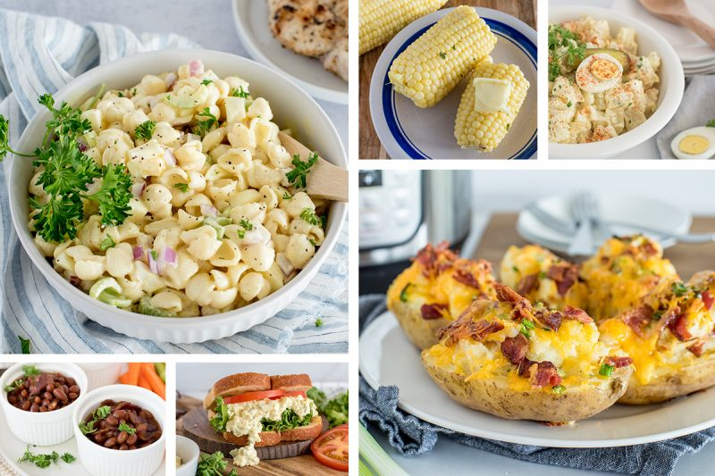 collage for Instant Pot summer Side Dish post, featuring a large image of amish potato salad on the top left and twice-baked potatoes on the bottom right, with smaller pictures of baked beans and egg salad and corn on the cob and potato salad tightly fitted