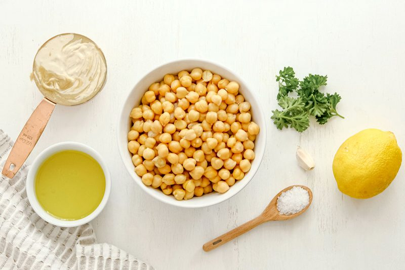 ingredients for classic hummus in bowls