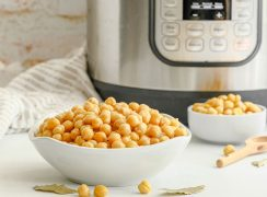 cooked chickpeas in front of an instant pot