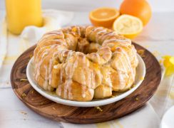 ring of citrus monkey bread with sugar glaze