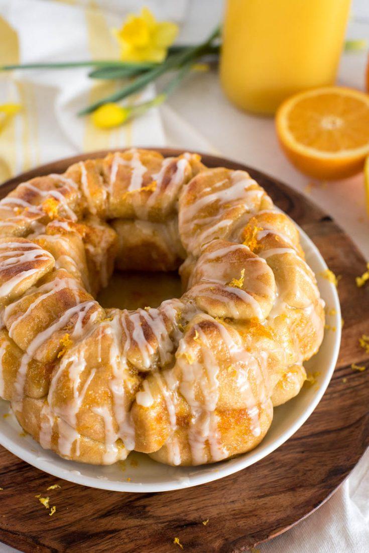 ring of citrus monkey bread with white sugar glaze