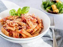 A close-up of Instant Pot Quick Marinara Sauce and Penne Pasta