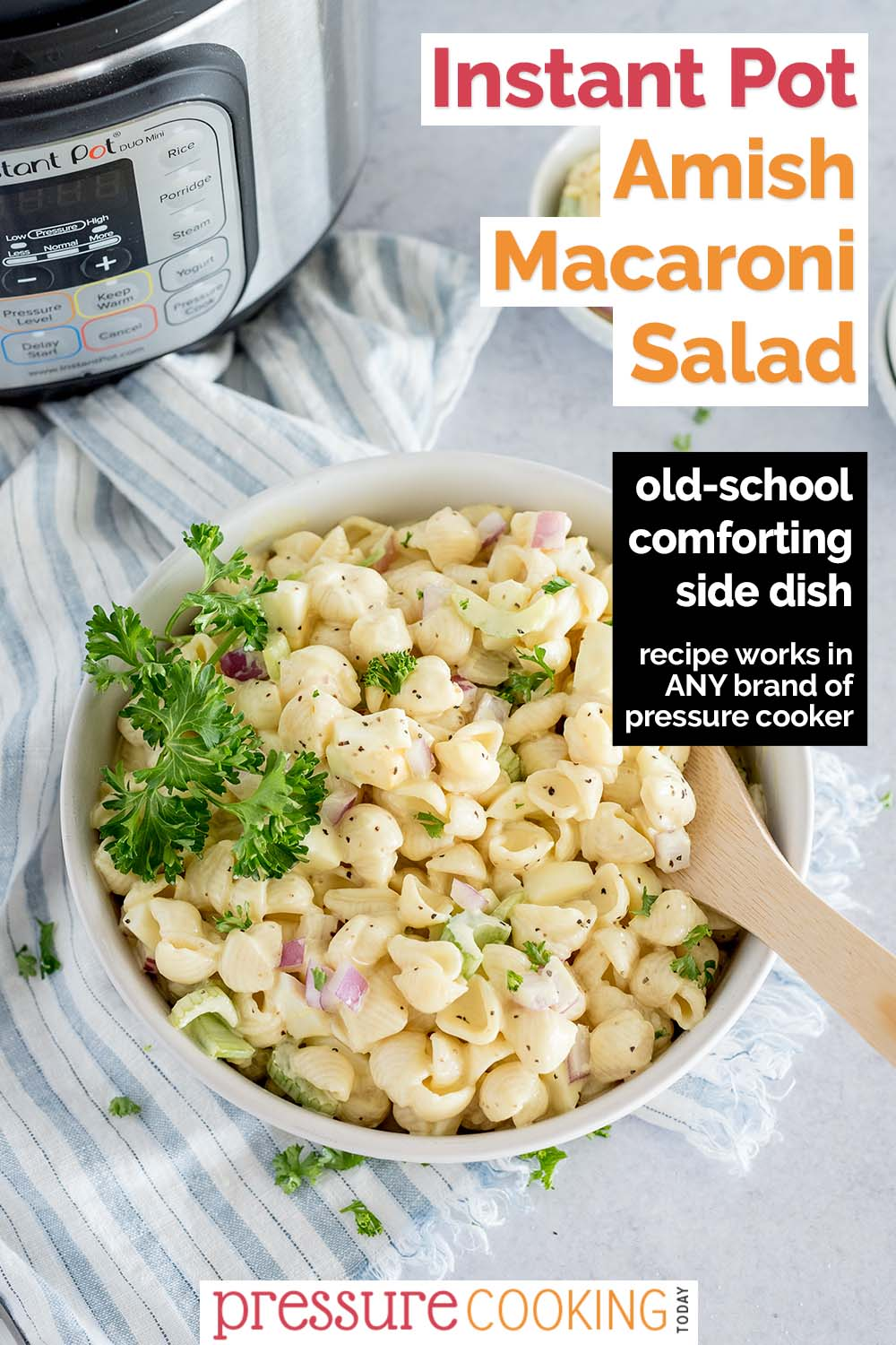 This EASY Instant Pot Amish Macaroni Salad features a tangy-sweet dressing poured over onions, celery, and pasta for the perfect BBQ tailgating side dish. via @PressureCook2da