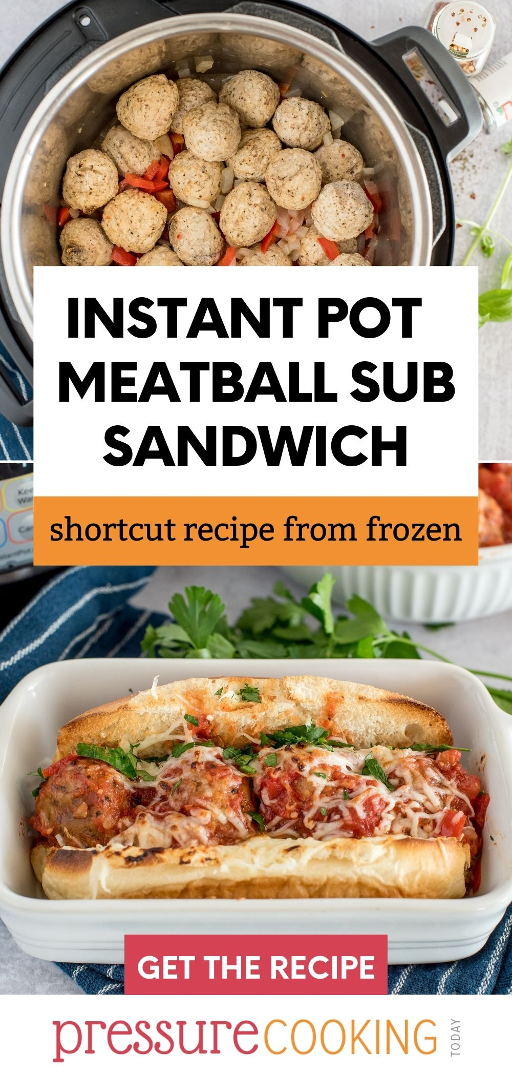 These shortcut meatball sandwiches start with frozen meatballs in Your Instant Pot, so you can get them on the table quick. Plus, make marinara sauce at the same time pot-in-pot. via @PressureCook2da