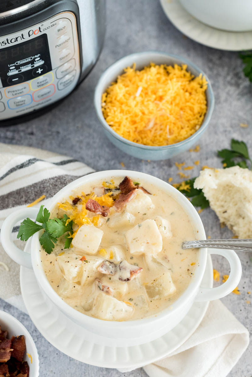 bowl of instant pot cheese potato soup