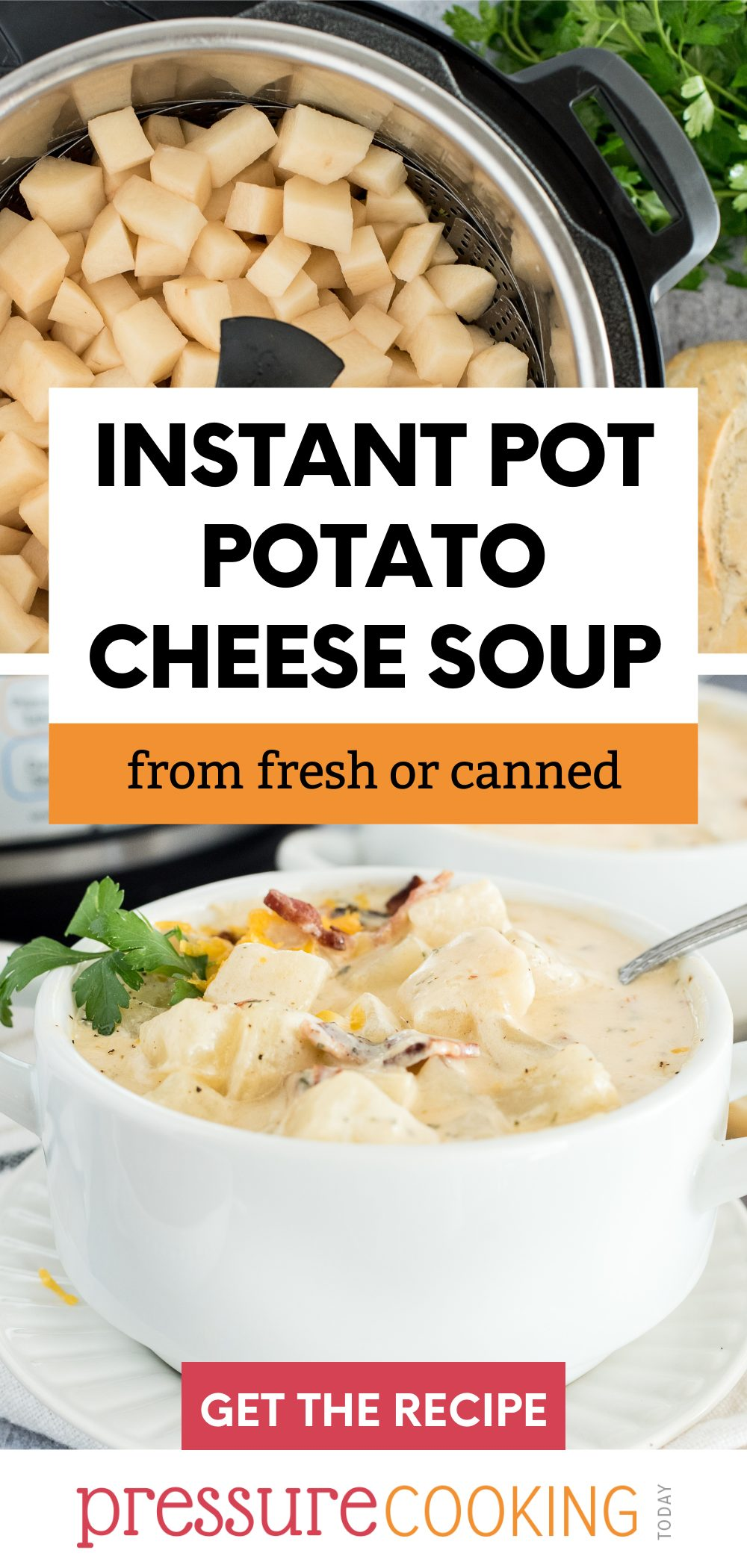 Instant Pot Potato Cheese Soup is loaded with chunky potatoes, bacon, corn, and two kinds of cheese for a filling soup that's perfect to make-ahead and via @PressureCook2da