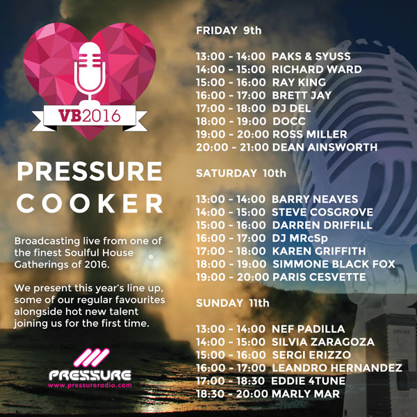 Vocal Booth Weekender 2016 Pressure Cooker Timetable