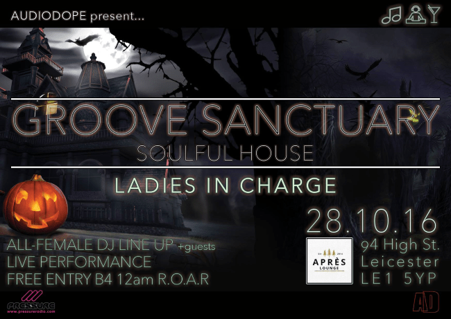 Ladies in Charge Groove Sanctuary 28-oct-16 flyer front
