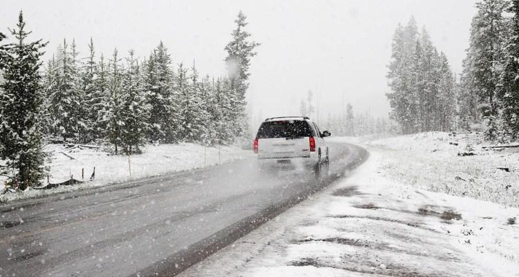 Car road trip in winter