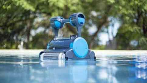 pool cleaner on the surface of water