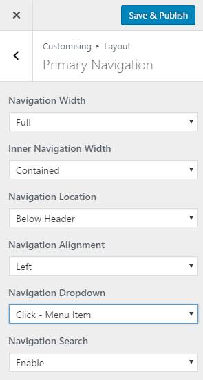 The navigation settings for the free version of Generate Press