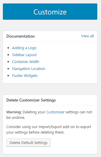 Options available in the Generate Press theme settings page