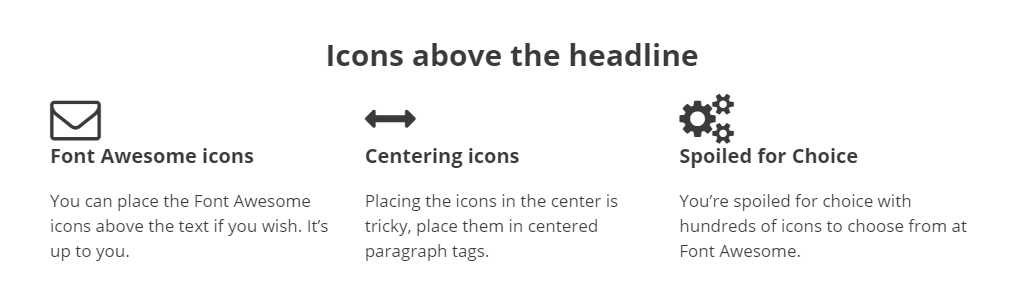 Large icons left aligned above headlines