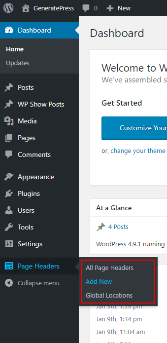 The Page Header tab in GeneratePress