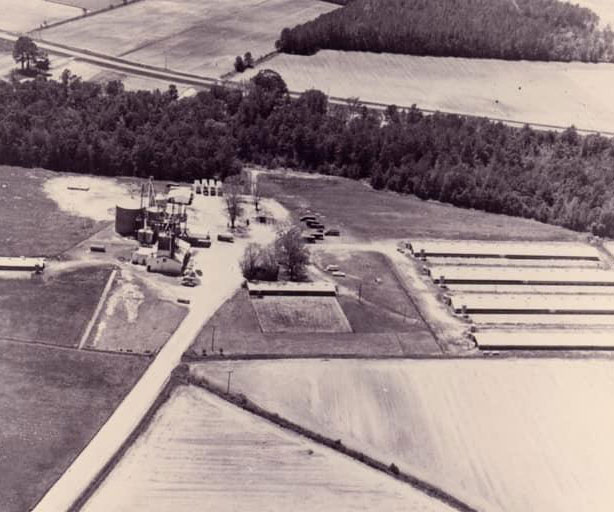 About Prestage Farms, History, Aerial shot of farm