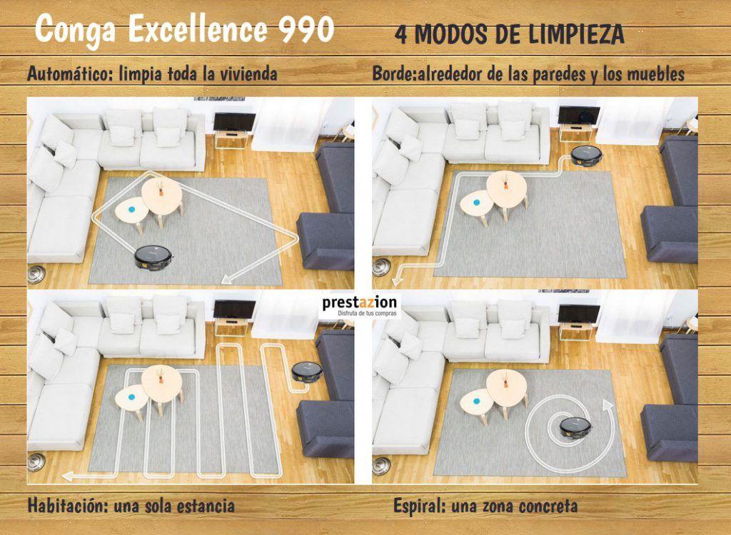 Robot aspirador Conga Excellence 990 de Cecotec-modos de limpieza