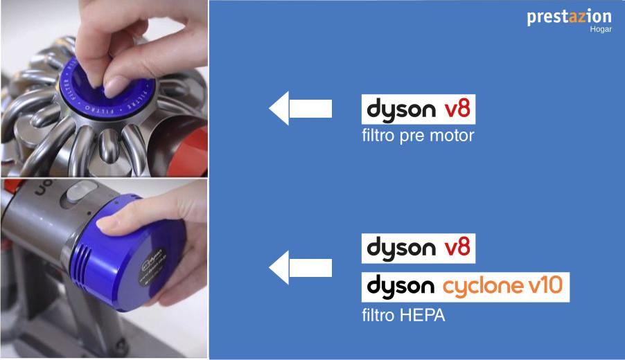 comparativa aspiradoras Dyson sin cable v10 vs V8-filtros