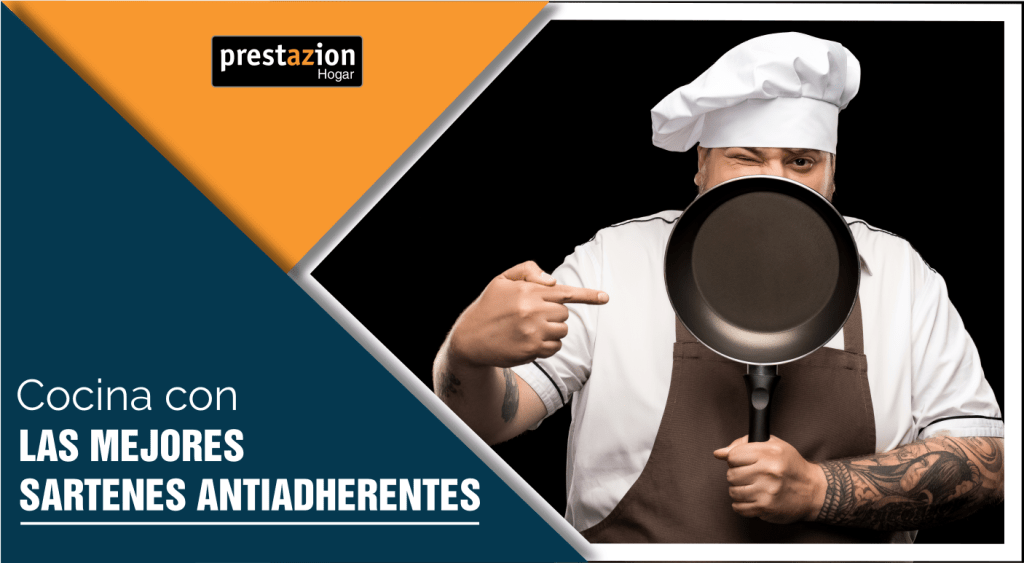 sartenes antiadherentes (cocinero profesional con sartén)