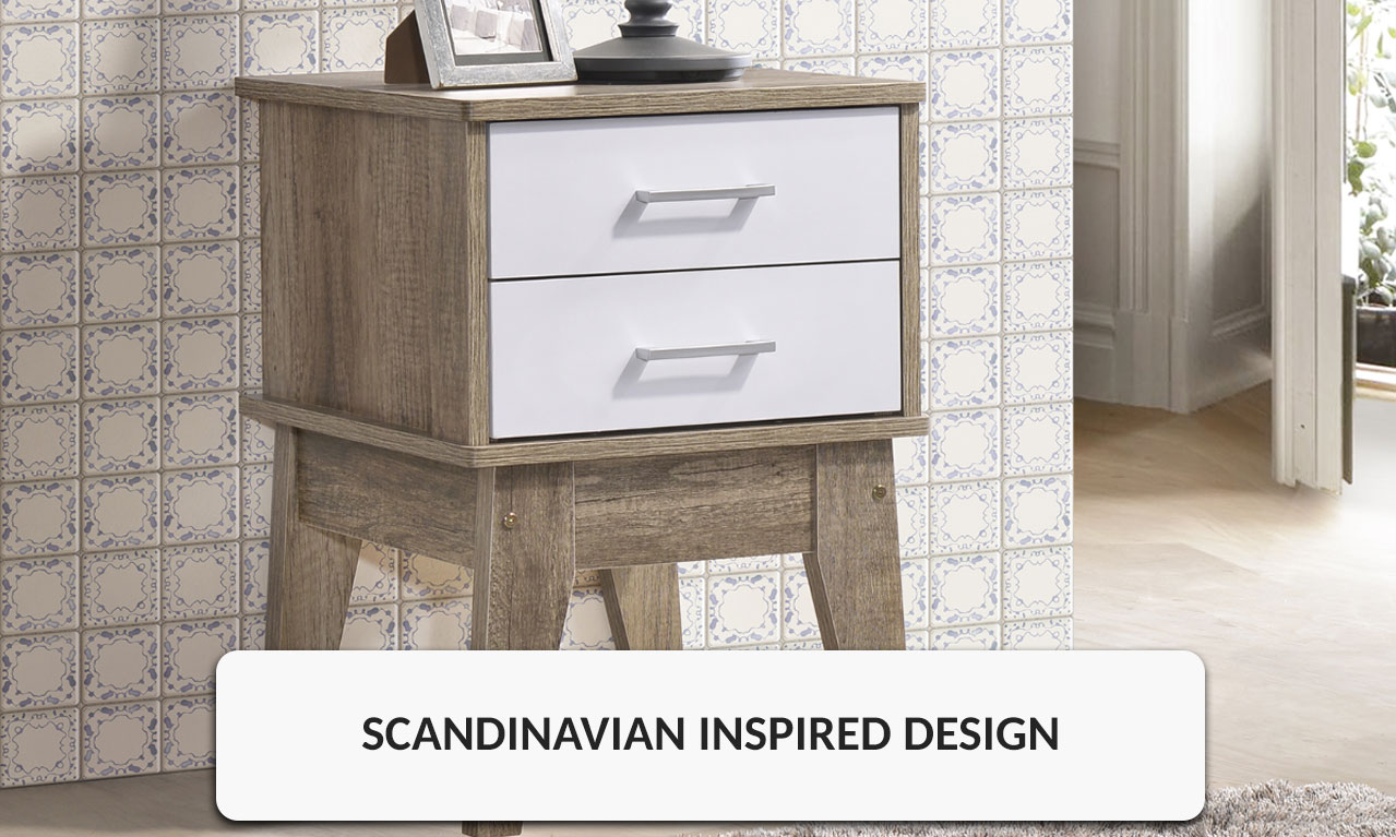 Bedside Table With 2 White Drawers Scandinavian Style Oak