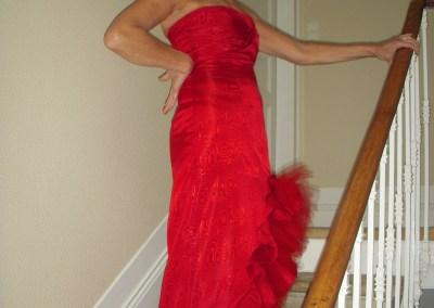 Robe rouge moirée