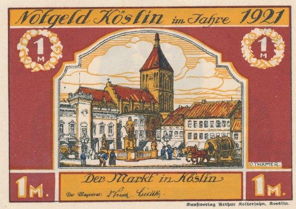 Awers (rynek) i rewers banknotu z pierwszej koszalińskiej serii, 1921.