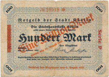 Ten sam koszaliński banknot najpierw o nominale 100, a potem z nadrukiem miliona marek, 1923.