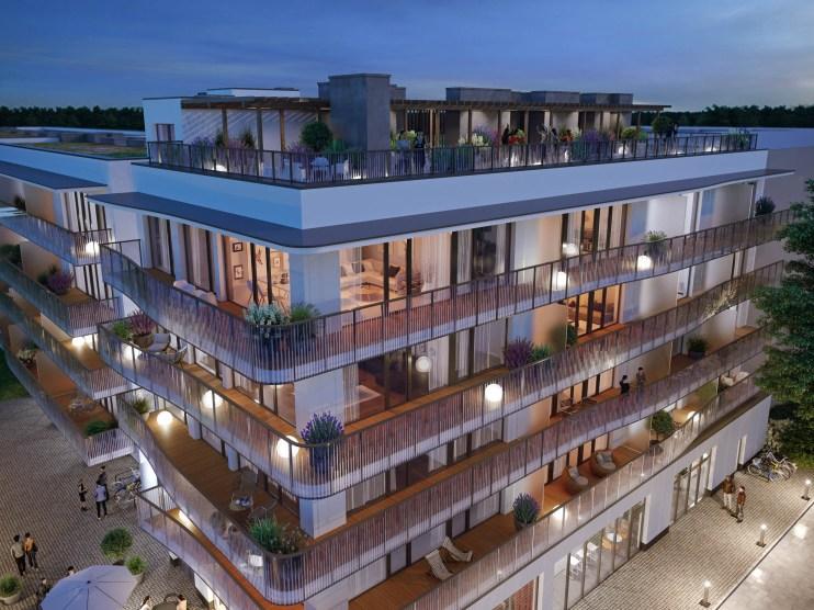 Duże powierzchnie przeszkleń i tarasy na całą długość apartamentów to wyróżniki Polanki Aqua