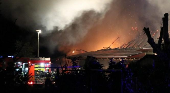 Požar v industrijski coni Laze: Gorijo zabojniki, ostrešje objekta in tovorno vozilo