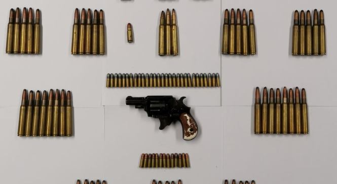 Med hišno preiskavo policisti zasegli 105 nabojev in revolver