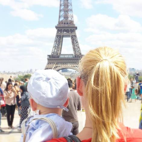 Eiffel Tower with baby