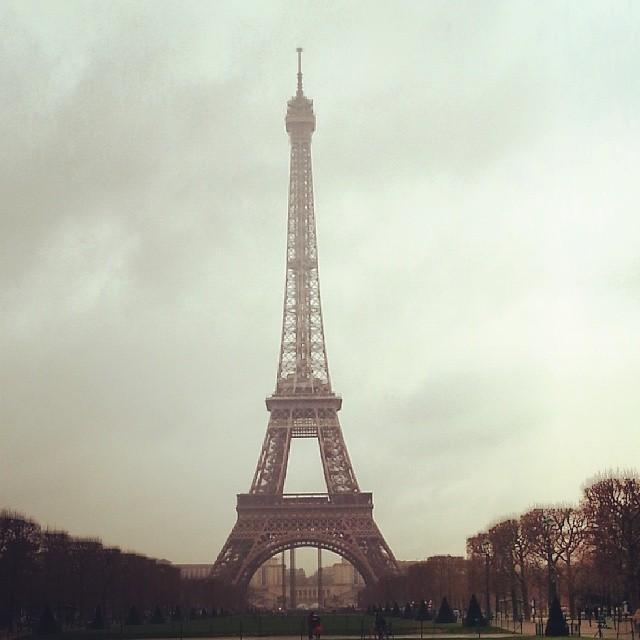 Eiffel Tower Paris cloudy day