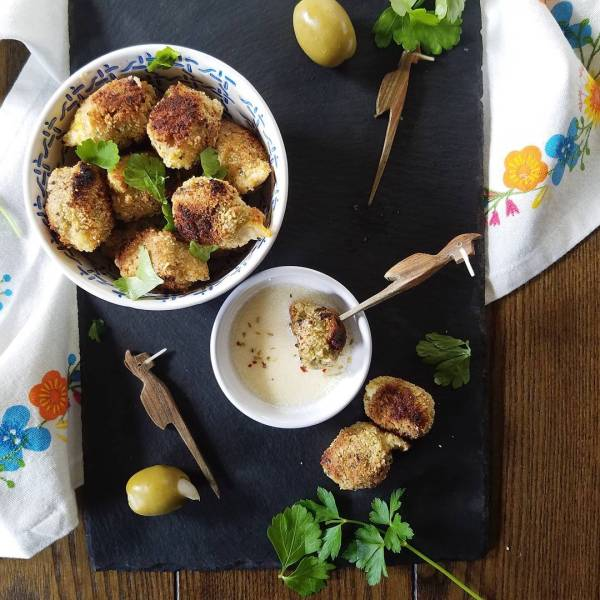 These pan fried stuffed olives from my ebook Almost Authentichellip