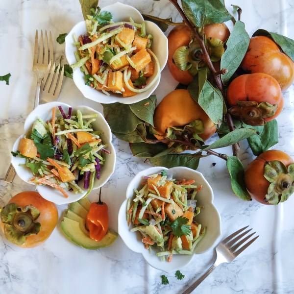 mexican persimmon broccoli slaw