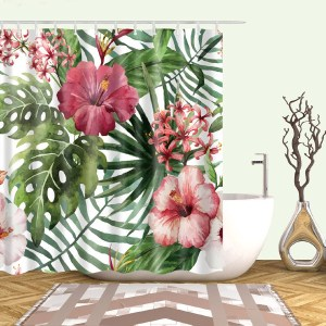 Tropical Pattern Shower Curtain With 12pcs Hook