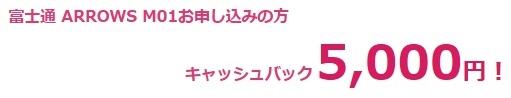 nifmoの富士通 ARROWS M01で5000円キャッシュバック