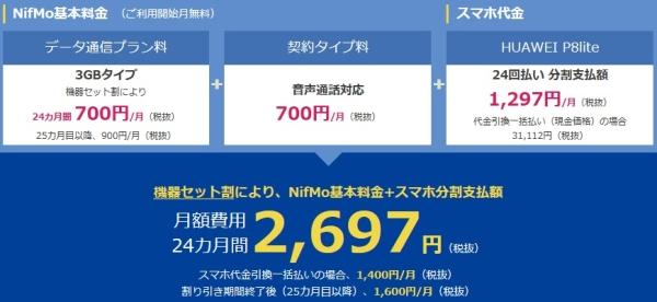 nifmoではP8liteが月2697円