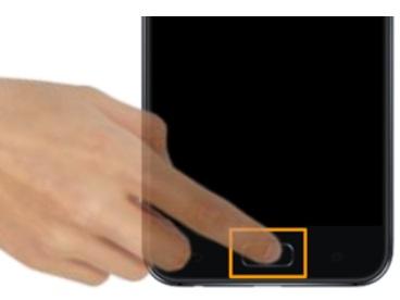 前面に指紋認証センサー