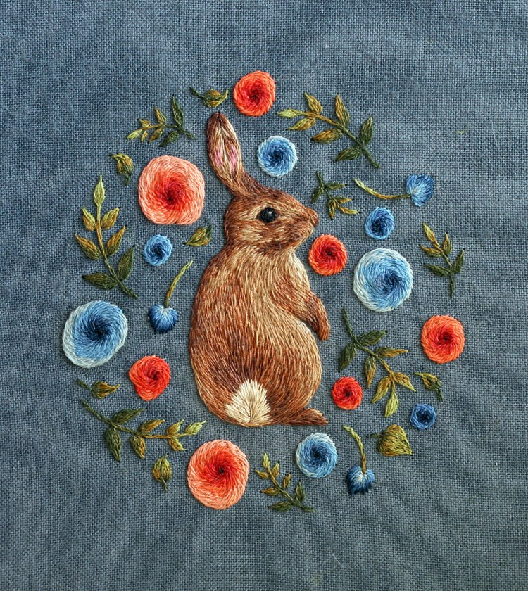 embroidered bunny  by chloe giordano
