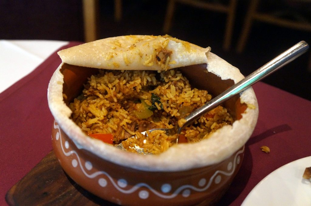 Biriyani -                                       Lighter version of the traveller's biriyani,a very popular dish commonly found in Dhaka, made with  pilau rice and lamb - Anarkali Restaurant