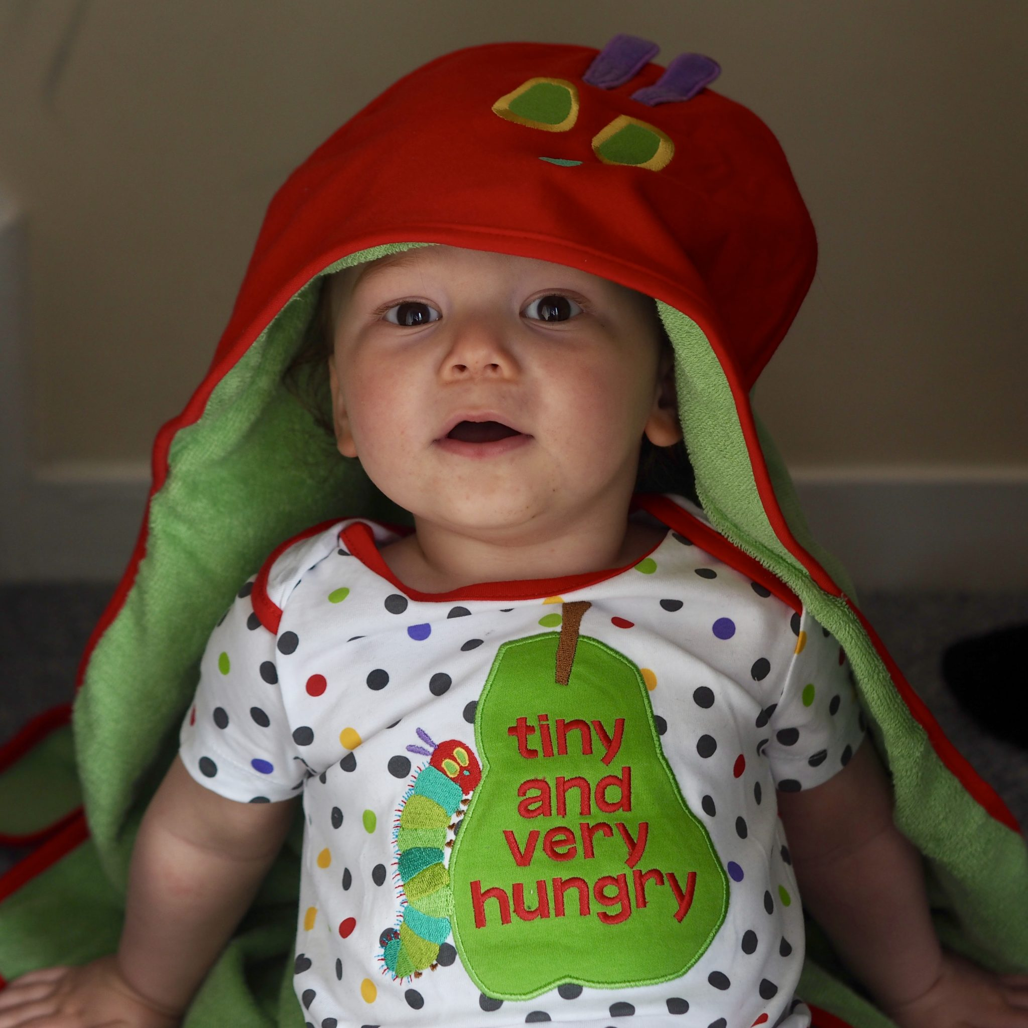 Green 'The Very Hungry Caterpillar' Towel review - pretty big butterflies