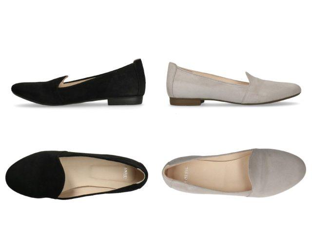 Nette, lage schoenen onder een jurk