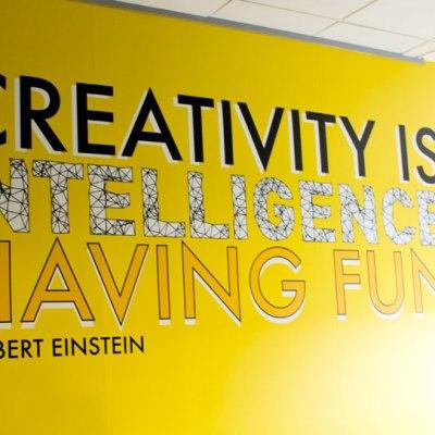 Einstein quote design on office wall