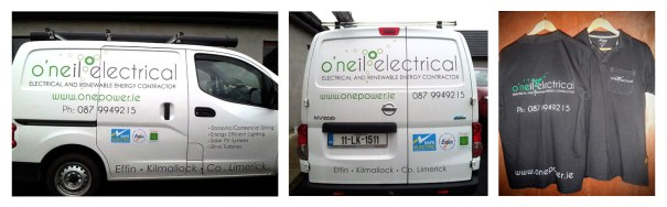 O'Neil electrical - van signage layout and workwear