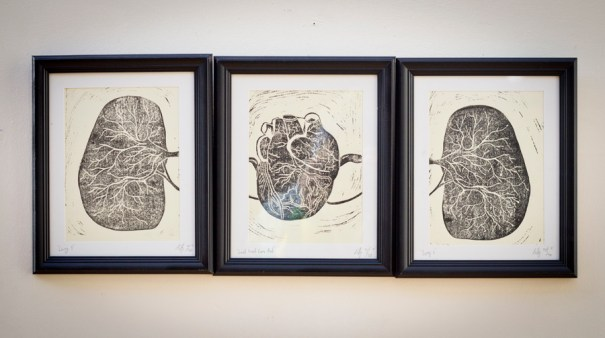 'Lung 1&2', 'Good heart gone bad' - lino print