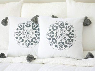 DIY Stenciled Tassel Pillows