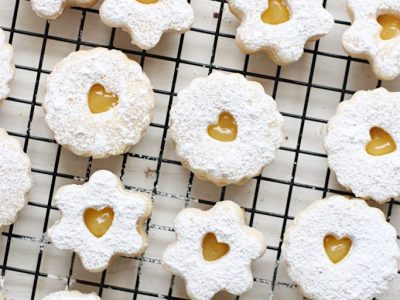 Lemon Curd Linzer Sandwich Cookies