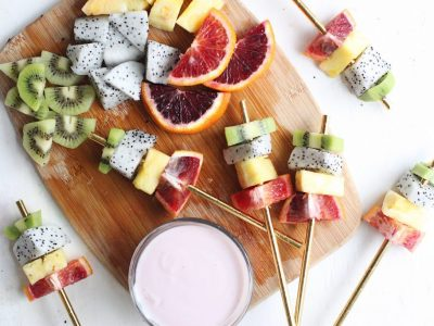 Summer Snacks: Delicious Rainbow Fruit Kabobs and Yogurt Dip