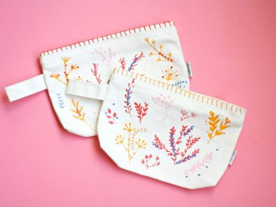 DIY Floral Stitched Pouches